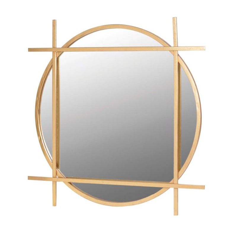 Large Round Gold Art Deco Mirror