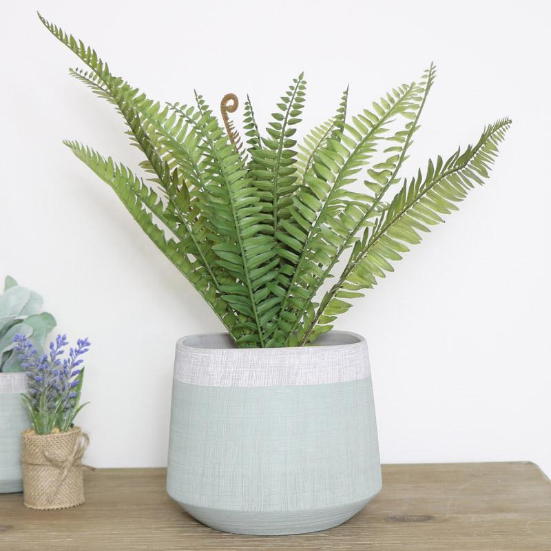 Large Round Green & Grey Planter pot