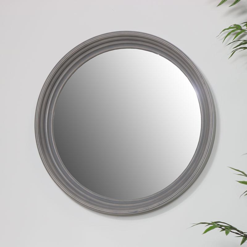 Large Round Grey Wall Mirror 60cm x 60cm