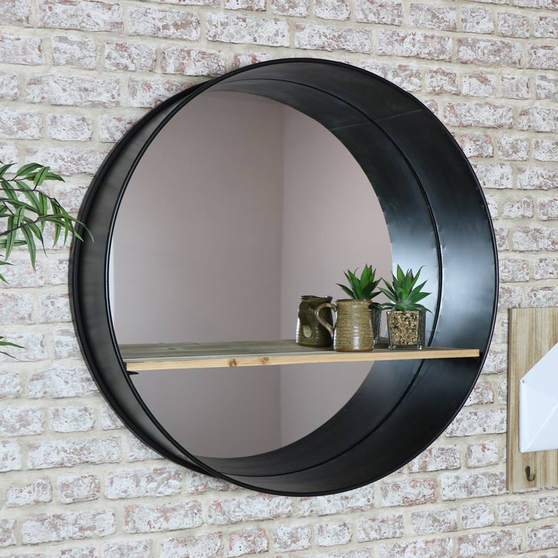Large Round Black Industrial Mirror with Shelf 80cm x 80cm