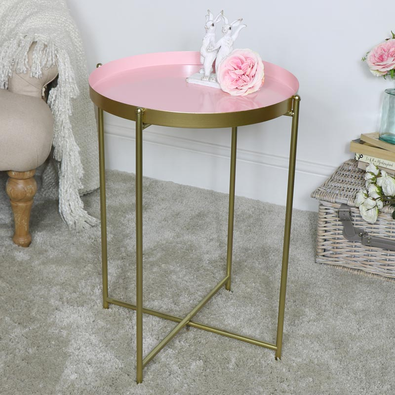 Large Round Pink & Gold Folding Metal Occasional Table