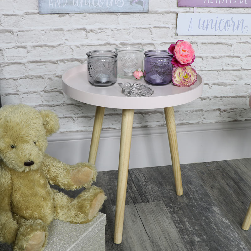 Large Round Pink Side Table