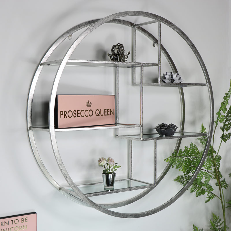 Large Round Silver Mirrored Multi Shelf Unit