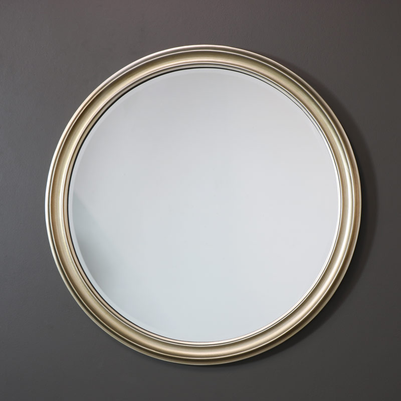 large round silver wall mirror 79cm x 79cm melody maison. Black Bedroom Furniture Sets. Home Design Ideas