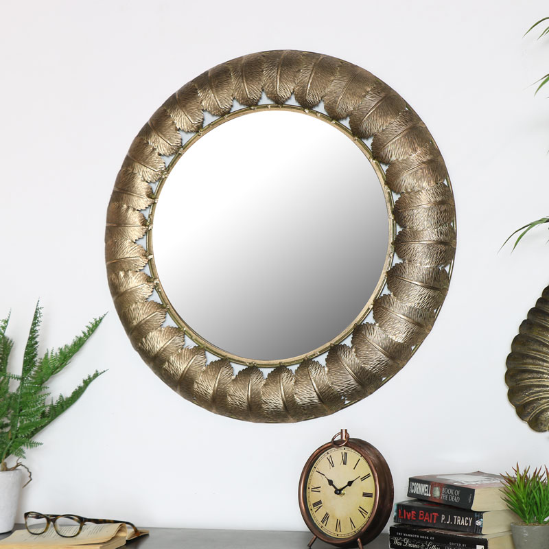 Large Round Vintage Gold Leaf Mirror