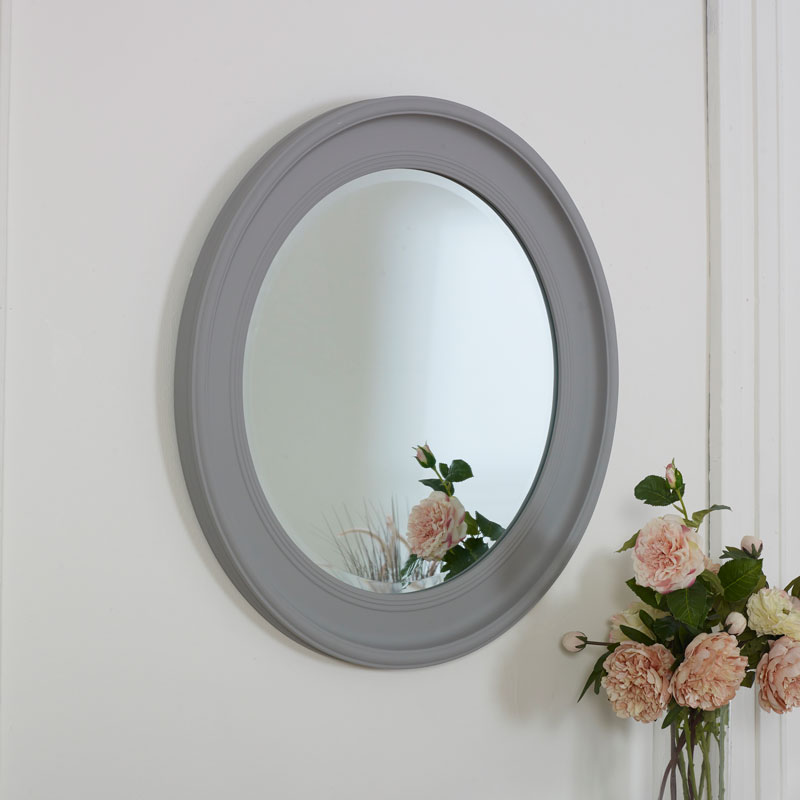 Large Round Vintage Grey Wall Mirror 80cm x 80cm