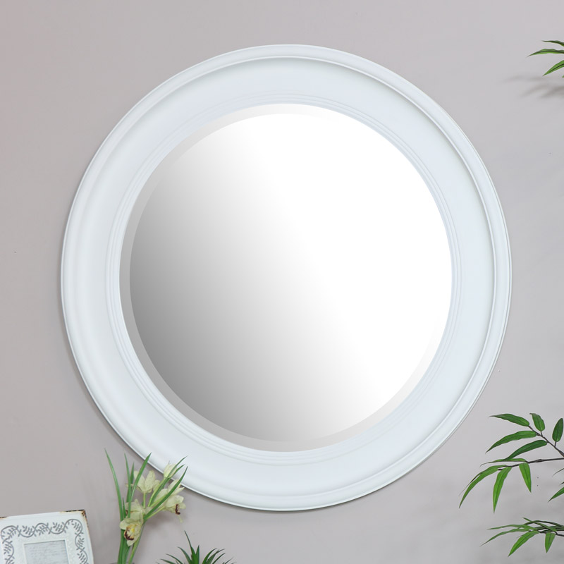 Large Round Vintage White Wall Mirror 80cm x 80cm