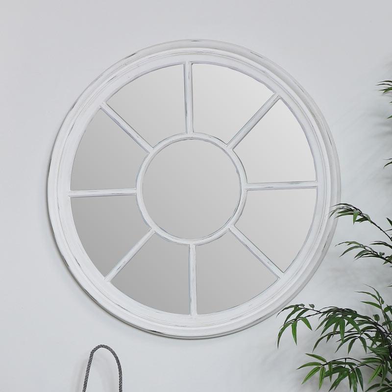 Large Round White Window Mirror