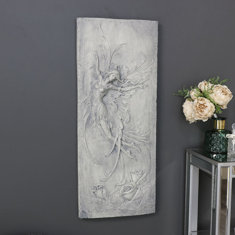 Large Rustic Grey Wall Mounted Fairy Plaque