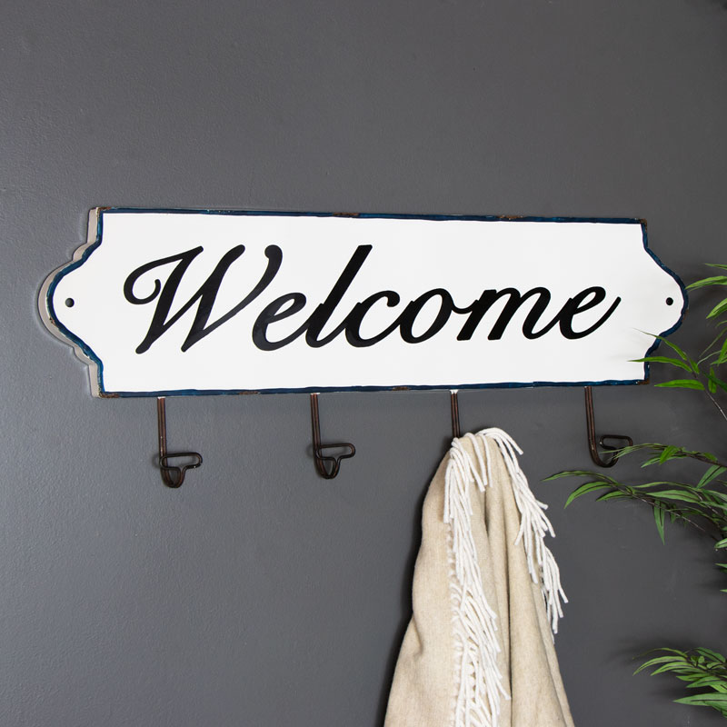 Large Rustic White Metal Welcome Sign With 4 Coat Hooks
