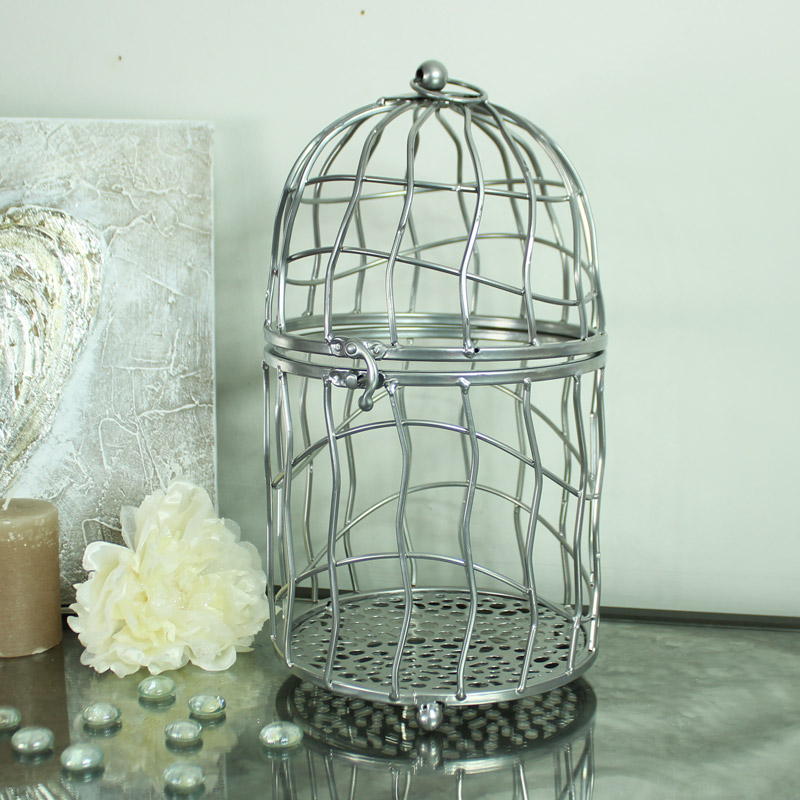 Large silver metal decorative bird cage candle holder lantern melody maison - Massieve decoratieve tuin ...
