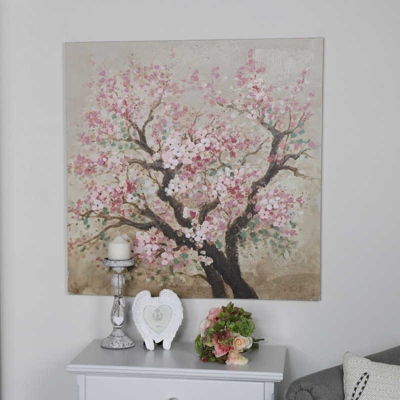 Large Square Pink Blossom Wall Canvas