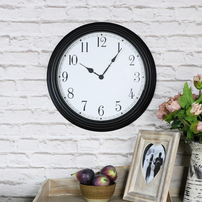 Large Vintage Black Wall Clock Melody Maison
