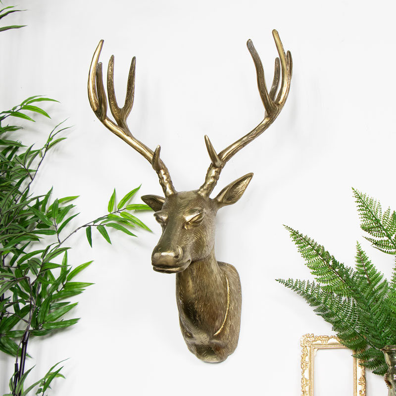 Large Gold Wall Mounted Deer Head