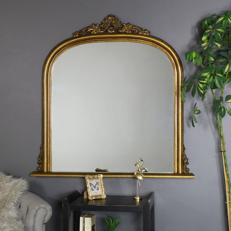 Large Vintage Gold Over Mantel Mirror 104cm x 103cm