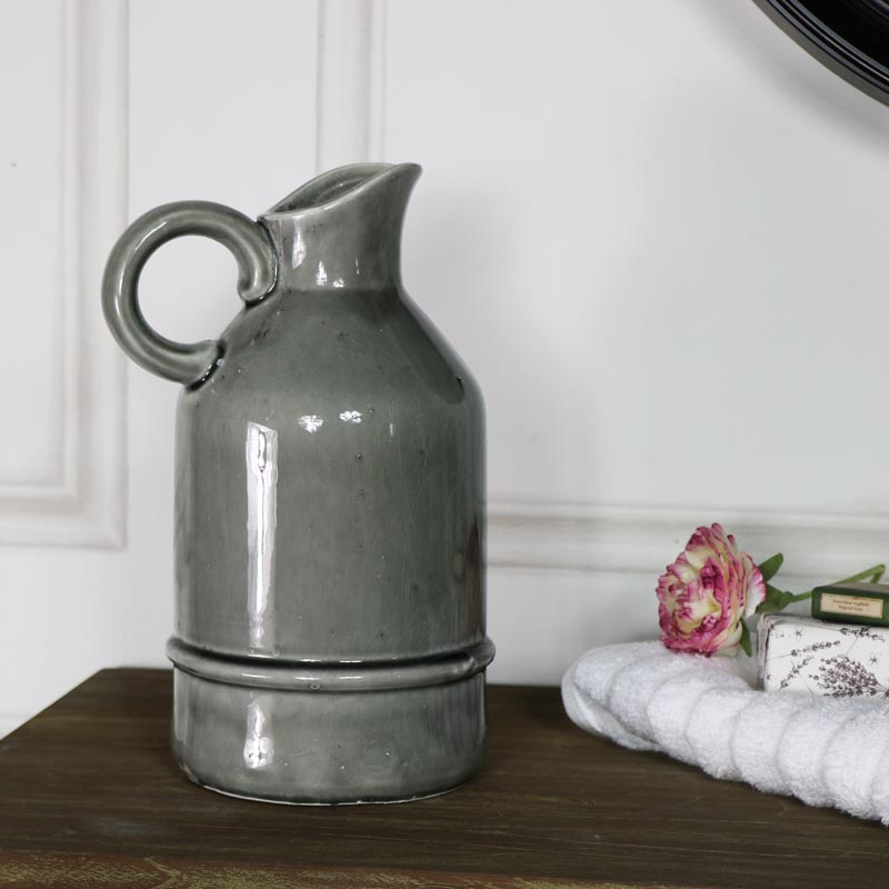 Large Vintage Grey Ceramic Glazed Jug