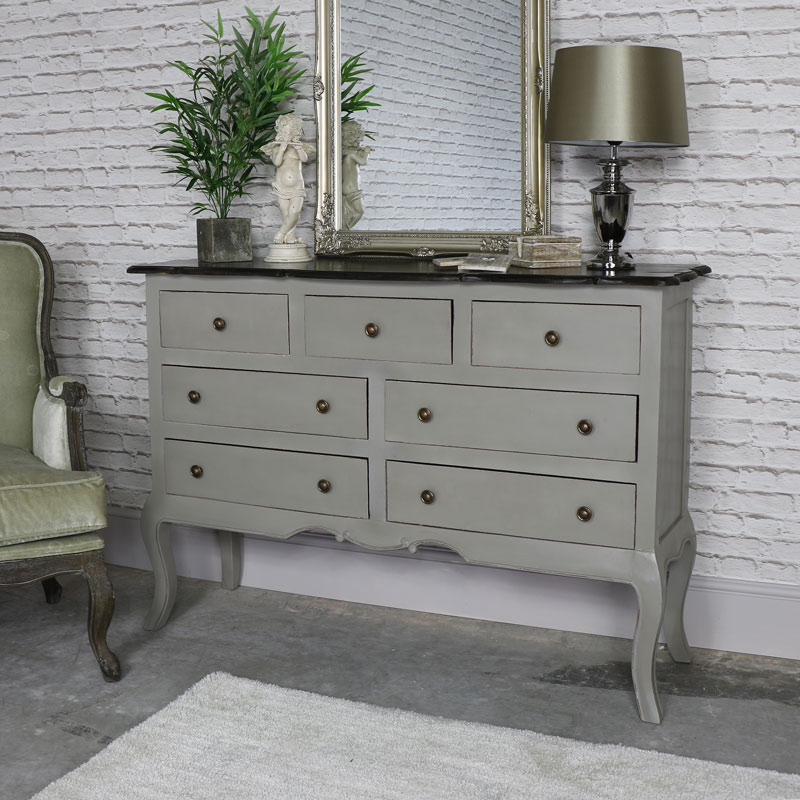 Large Grey Wood 7 Drawer Chest Of Drawers Shabby Vintage Chic Bedroom Furniture Ebay