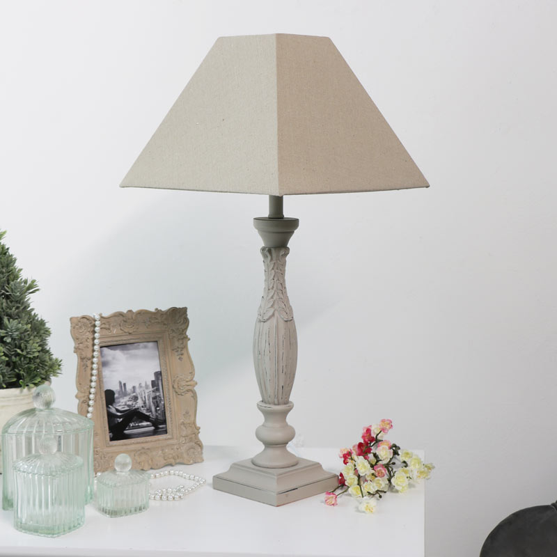 Large Vintage Style Table Lamp - Stone Grey