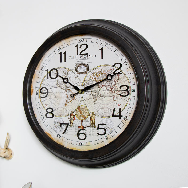 Large Vintage World Map Wall Clock