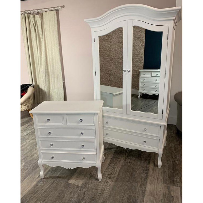 Large White Double Mirrored Wardrobe & Five Drawer Chest - Victoria Range DAMAGED SECONDS 2008