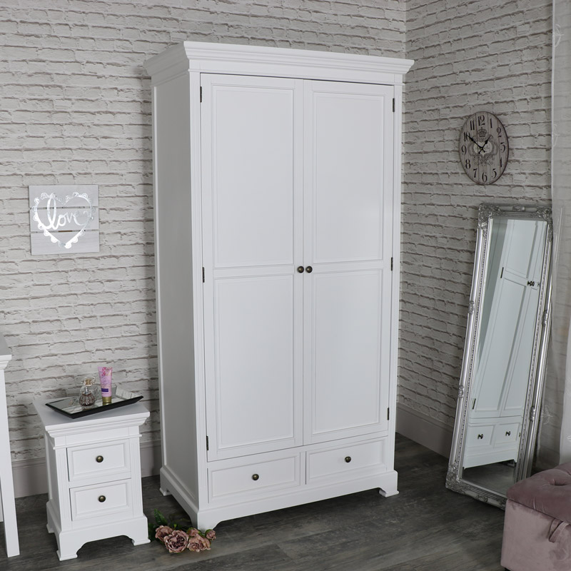 Large White Double Wardrobe - Daventry White Range