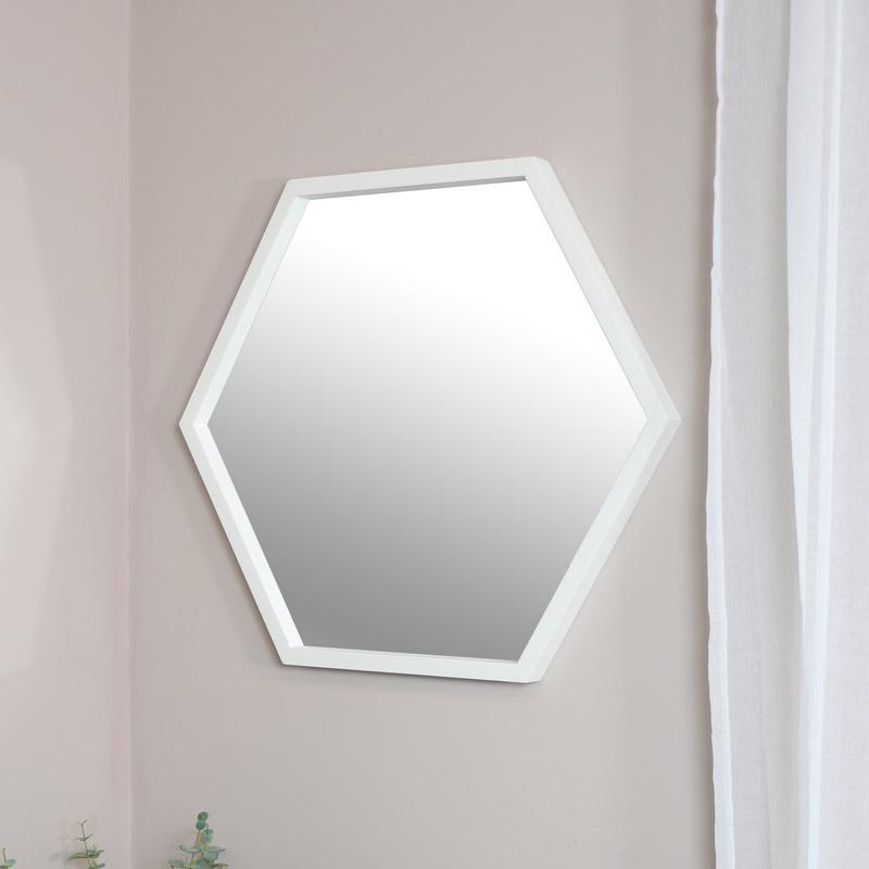 Large White Hexagon Mirror
