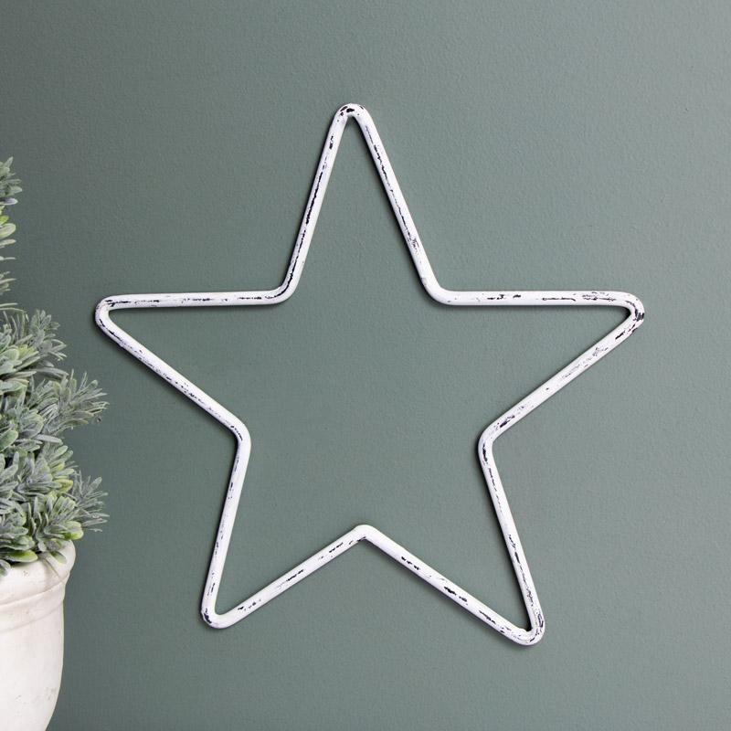 Large White Metal Star