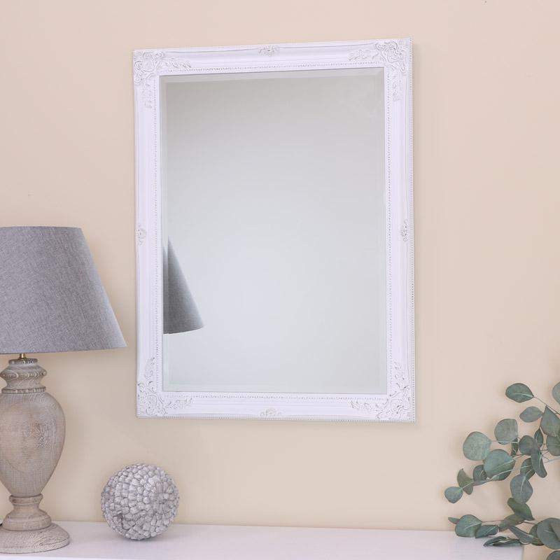 Large White Ornate Wall Mirror 62cm x 82cm