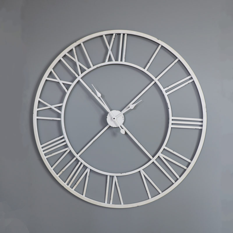 Large white skeleton wall clock melody maison - Large roman numeral wall clocks ...