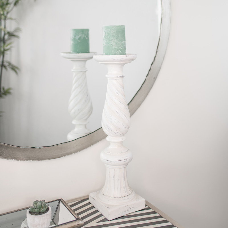 Large White Twisted Candle Stand
