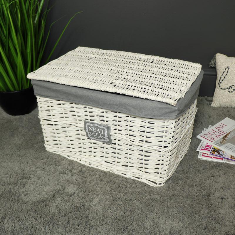 Large white willow wicker storage hamper basket bathroom - White wicker bathroom accessories ...