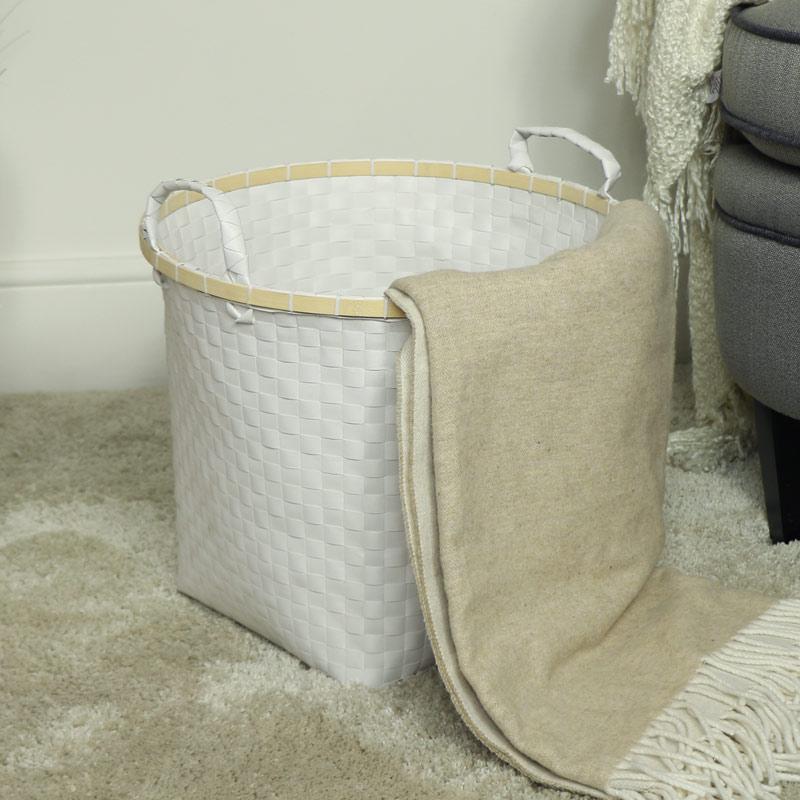 Large White Woven Laundry Basket
