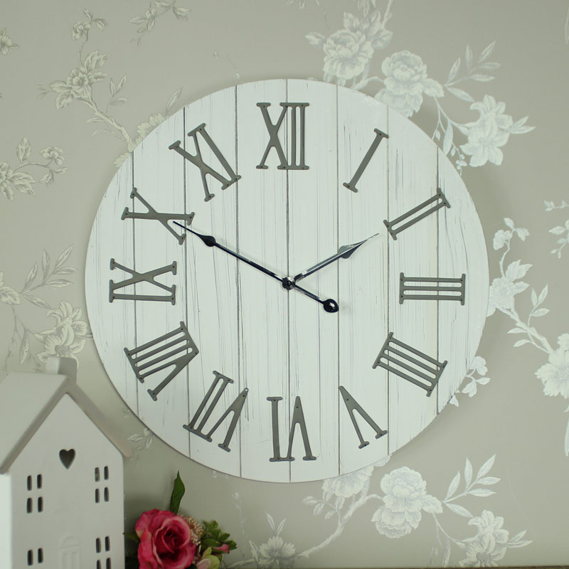 Large Wooden Antique White Wall Clock Melody Maison