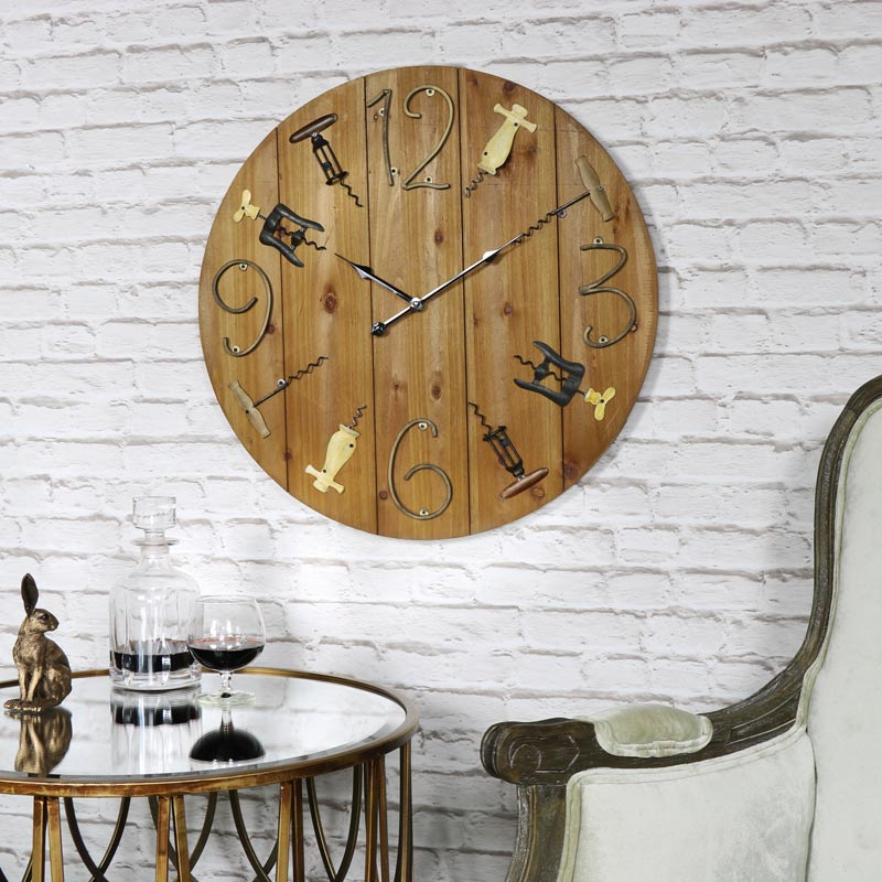 Large Wooden Corkscrew Wall Clock Clocks Pictures