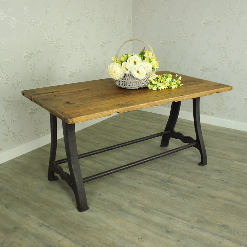 Furniture Dining And Kitchen Tables Farmhouse Industrial: Large Wooden Industrial Rustic Farmhouse Style Dining