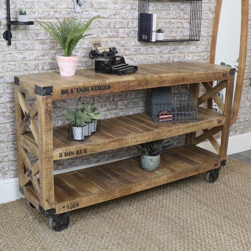 Large Wooden Shelving Island Unit with Wheels