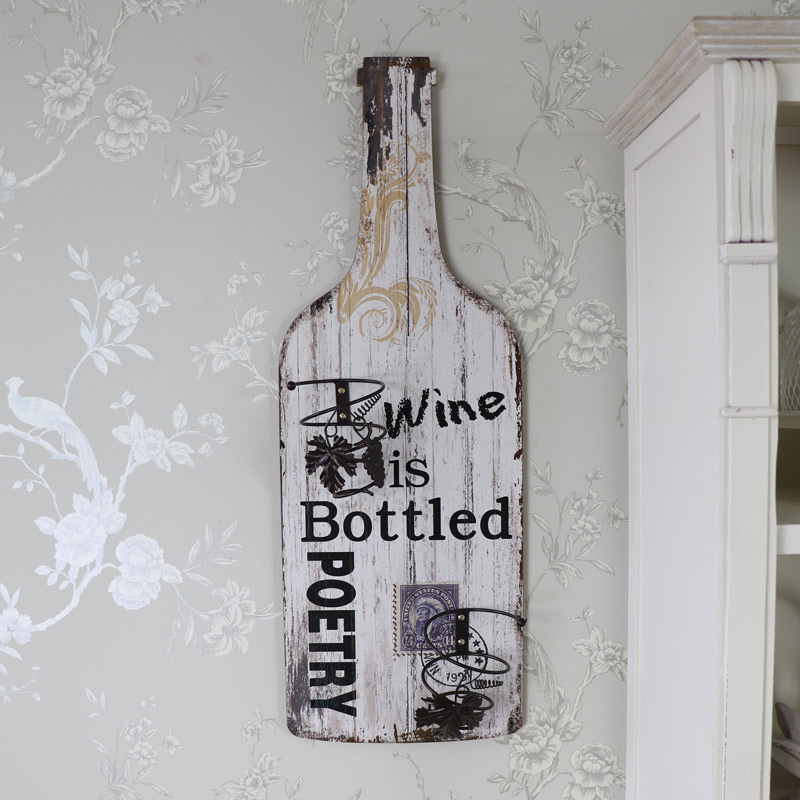 Large Wooden Wine Bottle Holder Wall Plaque Melody Maison