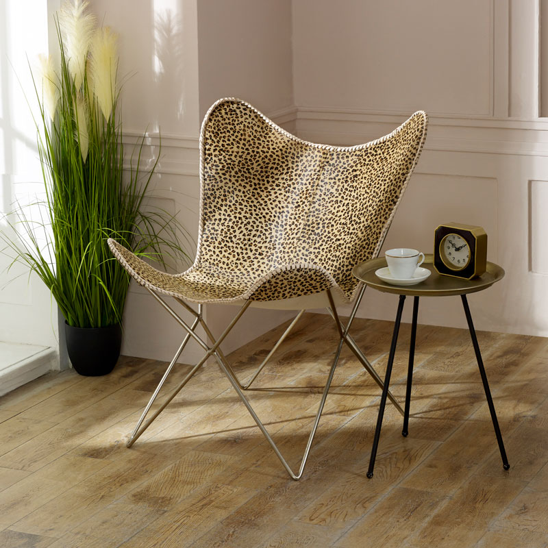 Leopard Print Covered Butterfly Chair