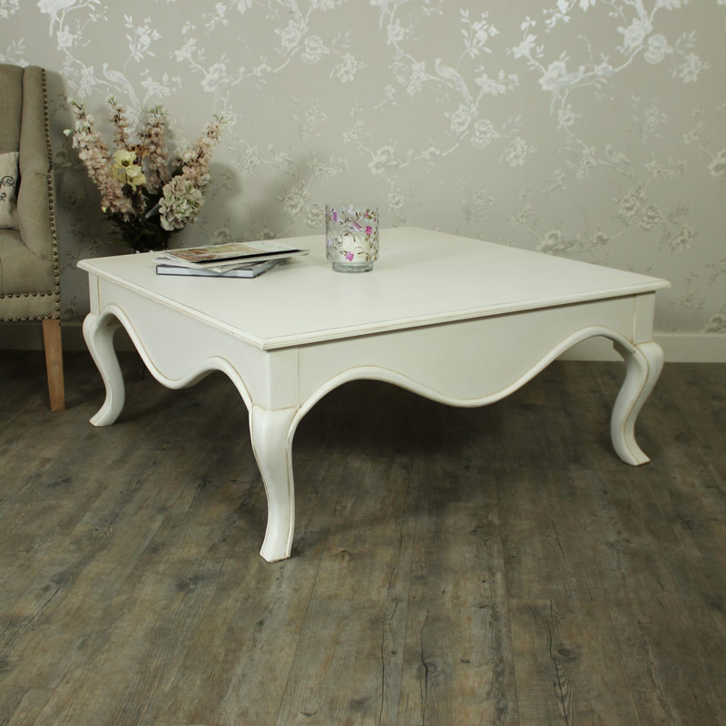 Large Square Cream Coffee Table - Louis XV Range