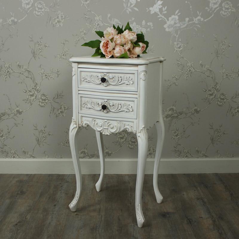 Ivory Ornate Bedside Table - Louis XV Range