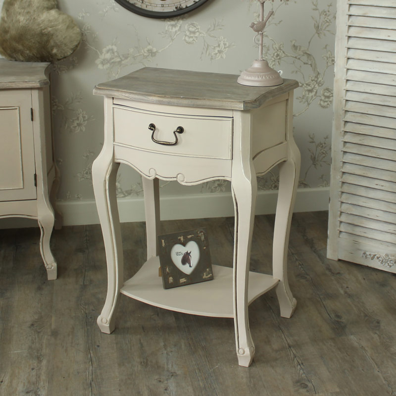 Mushroom Grey Colour 1 Drawer Bedside Lamp Table - Louisiana Range
