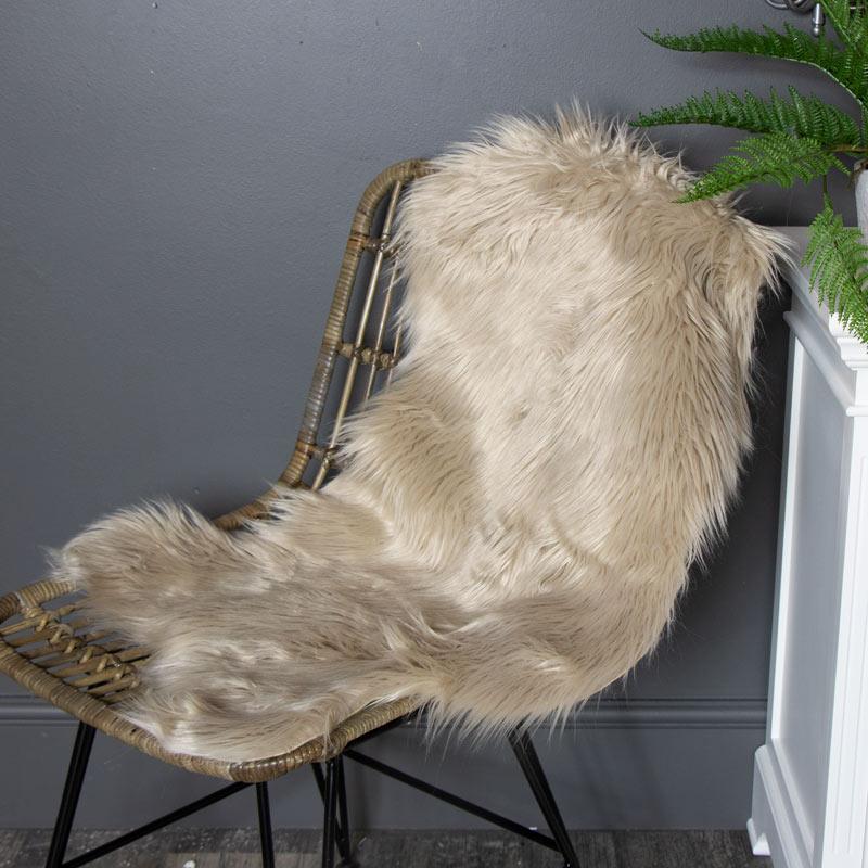 Luxury Soft Faux Fur Beige chair throw/Rug