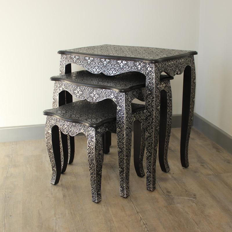 Embossed Silver/Black Nest Of 3 Tables - Marrakech Range