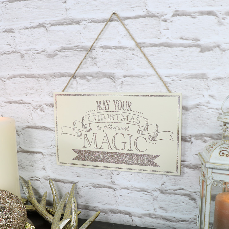 'May Your Christmas Be Filled With Magic' Wooden Wall Plaque