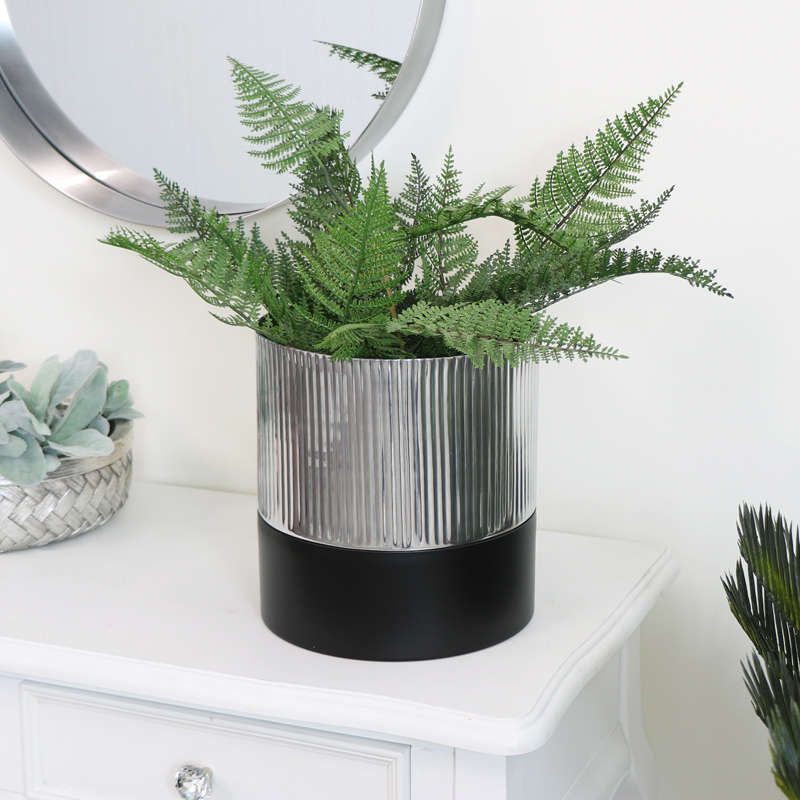 Medium Black & Silver Metal Planter