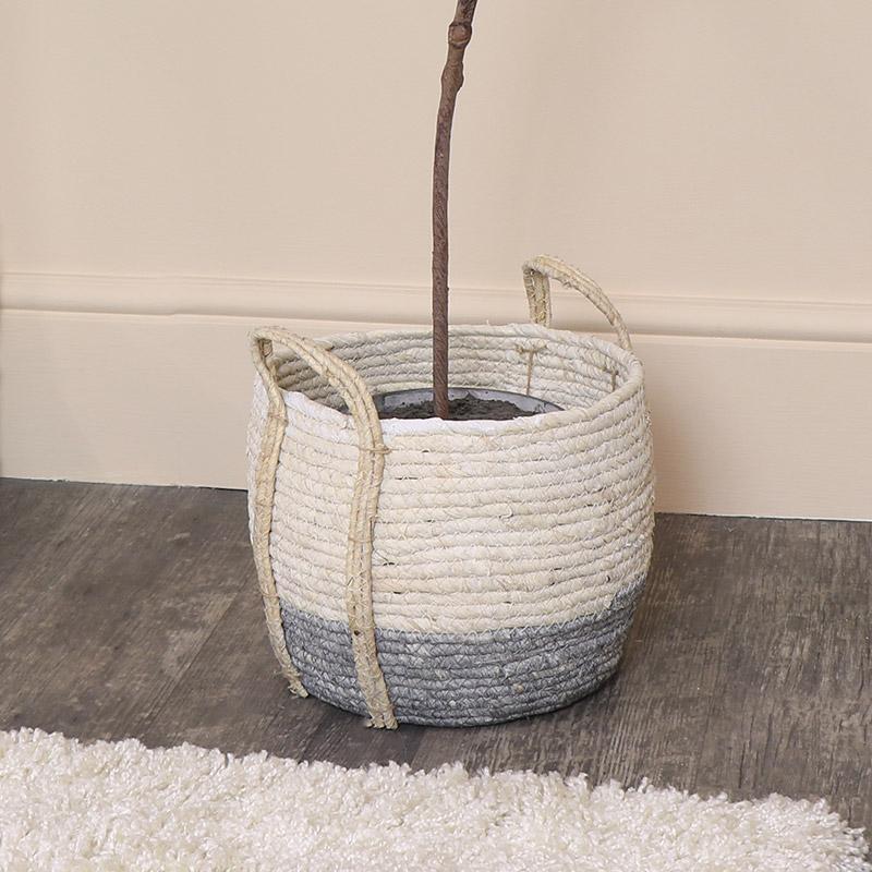 Medium Round White & Grey Seagrass Basket/Planter