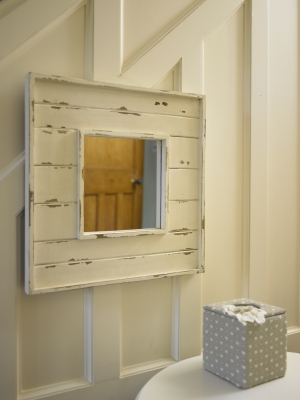 White distressed slatted square mirror wooden bedroom