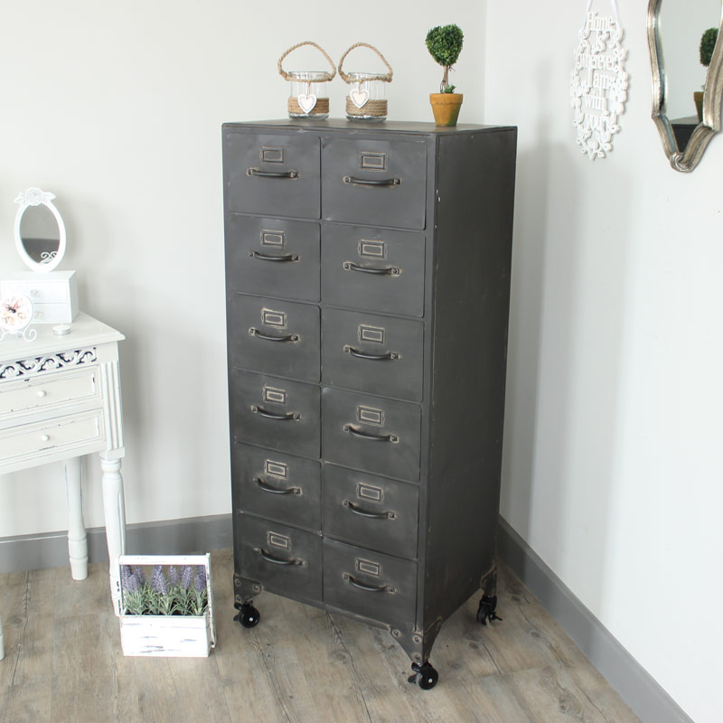 Industrial Range - Metal 12 Drawer Storage Cabinet Chest of Drawers