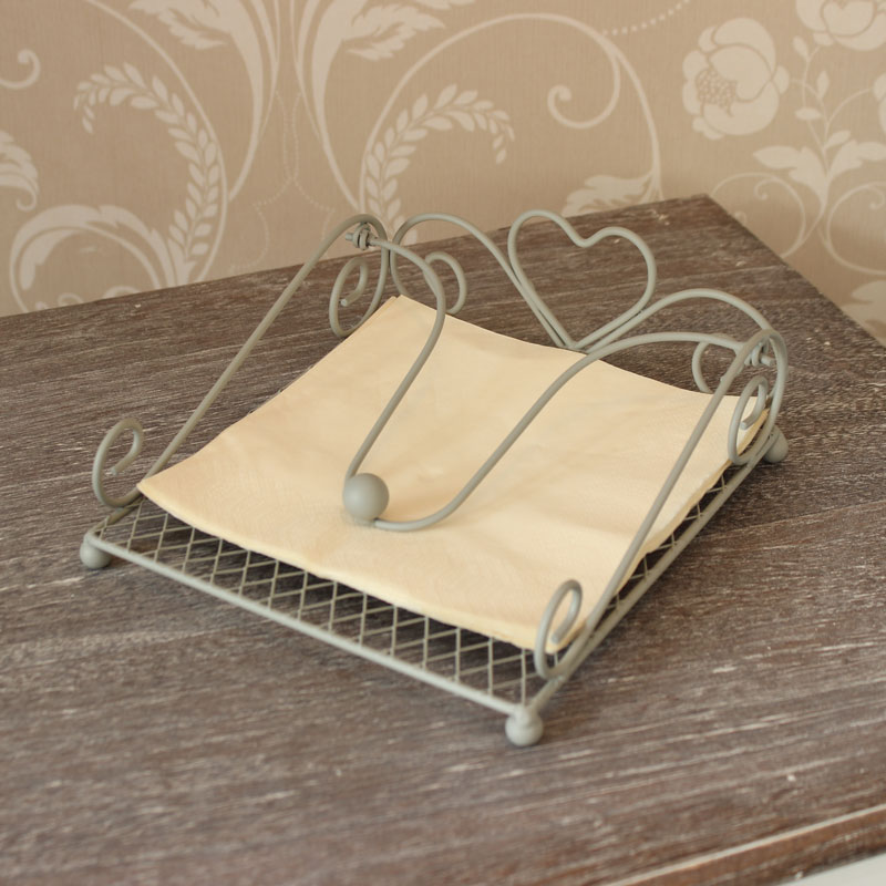 Grey Heart Napkin Holder