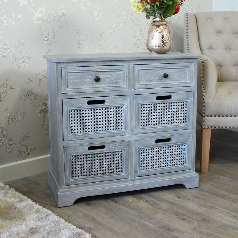 Washed Grey Wooden Six Drawer Chest of Drawers - Milan Range